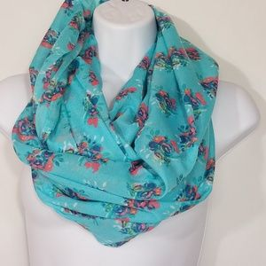 Aerie Infinity Scarf Blue Floral One Size Q222
